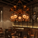 Trumpet Chandelier Lighting Fixture Coastal Steel Lantern Chandelier in Antique Brass for Living Room