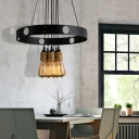 Farmhouse Style Open Bulb Hanging Pendant Metal 6 Heads Ceiling Pendant Lights in Black for Indoor