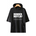Trendy Letter Dunder Mifflin Print Short Sleeve Casual Loose Hooded Tee