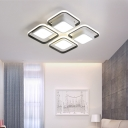 Square Ceiling Light Modern Acrylic White Flush Mount Lighting for Living Room