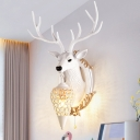 Rustic Antler Wall Mounted Light with Pull Chain Resin 1 Light Wall Sconce Light for Living Room