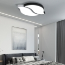 Black and White Leaf Ceiling Lamp Modernism Led Ceiling Mounted Light with Acrylic Shade
