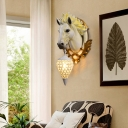 Resin Horse Wall Sconce Light with Crystal Lampshade 1 Light Rustic Wall Lighting