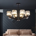Crystal Cylinder Shaded Chandelier Light Fixture Contemporary Iron 3/6/8 Light Ceiling Chandelier for Living Room