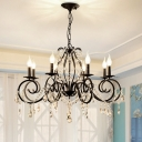 Traditional Pendant Chandelier Metal and Crystal Candle Ceiling Pendant in Black for Kitchen Dining