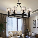Black Shaded Chandelier Contemporary Iron and Crystal 6/8 Heads Ceiling Chandelier for Living Room