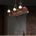 Candle Island Light Rustic Iron and Wood Island Chandelier in Black for Kitchen Island