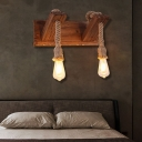 Exposed Bulb Wall Mounted Light Rustic 1/2 Light Wooden Wall Sconce Lighting for Restaurant