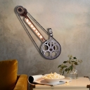 Bike Gears Wall Mounted Light Aged Metal 1 Light Tube Wall Sconce Lighting for Living Room