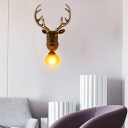 Modern Dome Sconce Lighting with Gold Deer Single Light Resin Wall Mount Light for Living Room