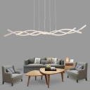 Silica Gel Linear Hanging Pendant Light with Wave Design Simplicity Led Pendant Lamp in Black/White