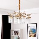 7/9 Light Cylinder Hanging Chandelier Modern Iron Crystal Chandelier Pendant Light with Adjustable Cord