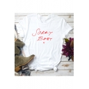 Sorry Baby X Letter Printed Round Neck Short Sleeve Gothic Cotton T-Shirt