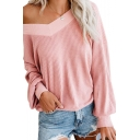 Stylish Plain V-Neck Off the Shoulder Long Sleeve T-Shirt