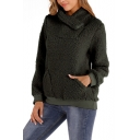Hot Popular Plain Zipper Turn-Down Collar Fluffy Fleece Teddy Sweatshirt With Pockets