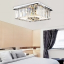 Crystal Cubic Ceiling Light Modern Metal 6 Light Ceiling Light Fixtures in Chrome for Bedroom