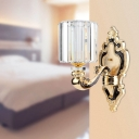 Mid Century Cylinder Wall Lighting Metal and Crystal Sconce Lighting Fixtures for Living Room and Bedroom