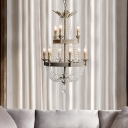 9 Lights 2 Tiers Chandelier Light with Candle Shabby Chic Metal Empire Chandelier with Crystal Accents