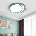 Macaron Moon Flush Mount Ceiling Light Iron and Acrylic 1 Light Ceiling Lights Flush Mount in White/Grey/Green