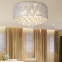 Drum Flush Mount Ceiling Light with Crystal Drop 18