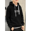 Men's Stylish Simple Letter KISD Pattern Long Sleeve Casual Drawstring Pullover Hoodie