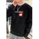 Men's Hot Fashion Letter WHEN THE WHOLE IS ABOUT  TO RAIN Smiley Face Printed Long Sleeve Pullover Sweatshirt