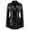 Unique Plain Black Zipper Embellished Notched Lapel Collar Long Sleeve High Low Hem Zip Up PU Biker Jacket