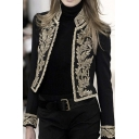 Womens Stand Collar Vintage Floral Embroidery Black Short Blazer