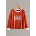 Simple Letter Pattern Color Block Patchwork Round Neck Long Sleeve Orange T-Shirt