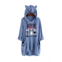 Stylish Cartoon Cat Letter Printed Ear Design Long Sleeve Loose Longline Hoodie