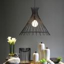 Wire Cage Hanging Lamp Industrial Modern Single Light Pendant Lighting Fixtures for Bedroom