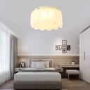 Living Room Drum Flush Mount Ceiling Light Glass Modern White Ceiling Light Fixture