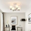 4 Light Cylinder Shade Flush Mount Ceiling Light Modern Glass Ceiling Light in White for Living Room