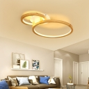 Ring Living Room Ceiling Light Fixture Wood Modern Flush Mount Ceiling Fixture