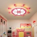 Nautical Ceiling Lights Iron and Acrylic 1 Light Flush Mount Ceiling Lights Kids Room Lighting