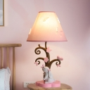 Cute Rabbit Desk Lamp Modern Fabric and Iron 1 Light Butterfly Accent Lamp for Girls Room