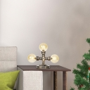 Industrial Loft Pipe Accent Lamp Glass and Iron Plug in Accent Table Lamp for Study