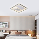 Living Room Square/Rectangle Mountain and Water Design Ceiling Light Modern White/Gray Flush Mount