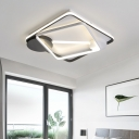 Modern Double Tier Square/Rectangle LED Ceiling Light Metal Indoor Flush Mount in Black and White
