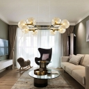 Modern Bubble Chandelier Lighting 8 Heads Dimpled Blown Glass Hanging Pendant Light