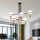 White Glass Sphere Chandelier Lamp 6 Lights Mid Century Modern Hanging Light in Satin Brass