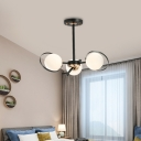 Sphere Chandelier with Black Metal Ring 3/6 Lights Frosted Glass Ceiling Pendant Light in Brass
