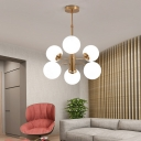 Mid Century Spherical Pendant Light 6 Lights White Glass Chandelier Light for Living Room