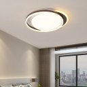 Modern Circle Ring Flushmount Metal and Acrylic Led Flush Ceiling Light in Brown