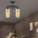 2-Light Pipe Semi Flush Light Industrial Style Iron and Glass Semi Flush Pendant Light in Black for Indoor