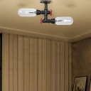 Black Tube Ceiling Light Fixture Industrial Iron 2 Light Close to Ceiling Lighting for Hallway