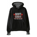 Trendy Heart Letter Scott Schrute Print Fake Two-Piece Loose Relaxed Hoodie