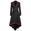 Womens Hot Popular Vintage Medieval Retro Steampunk Single-Breasted Striped Embellished Long Sleeves Longline Asymmetrical Swallowtail Coat