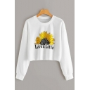 Live A Little Letter Flower Printed Round Neck Long Sleeve White Loose Crop Hoodie