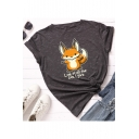 Look At All The Fox I Give Letter Cartoon Fox Printed Round Neck Short Sleeve Tee